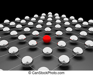 Red sphere between others grey: networking and internet concept