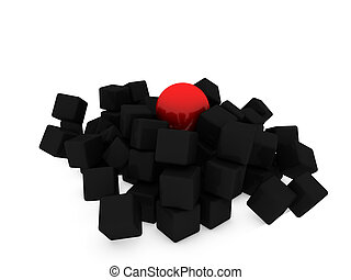 red sphere on cubes
