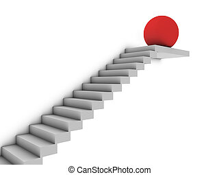 red sphere on stairs