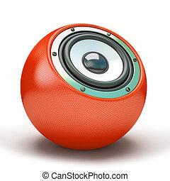 Red sphere speaker