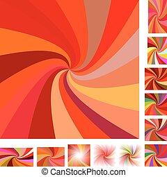 Red spiral background set