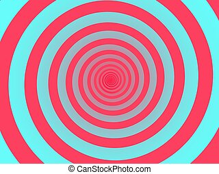 Red spiral background. Swirl, circular shape on turquoise background.