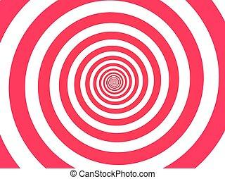 Red spiral background. Swirl, circular shape on white background.