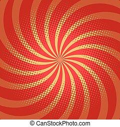 Red spiral pop art background