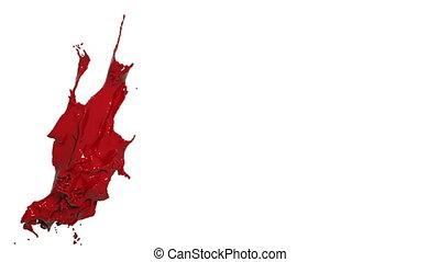 red splash. big spilling in slow motion. Colored liquid