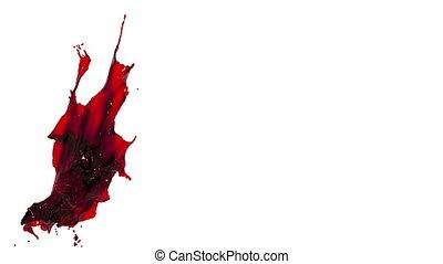 red splash. big spilling in slow motion. tinted oil