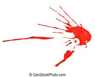 Red splashes on a white background.