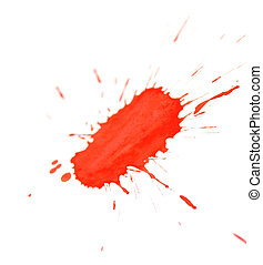 Red splashes. On a white background.