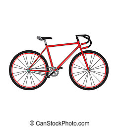 Red sport bicycle on a white background, vector illustration