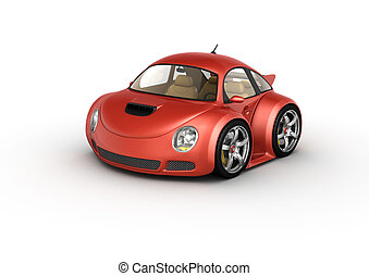 Red sport car - 3d isolated on white background...