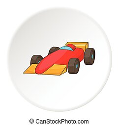 Red sport car icon, cartoon style