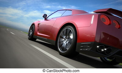 Red sport car moving on the road, loop-ready, high quality 3d render