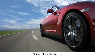Red sport car moving on the road, l