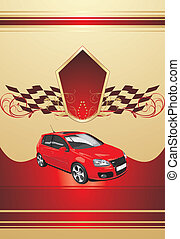 Red sport car on the decorative background. Vector illustration