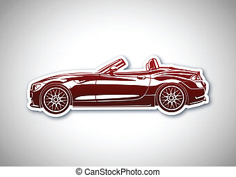 Red sport car over paper