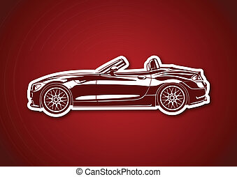 Red sport car over red paper