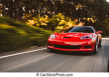 Red sport car speed drive on the forest road