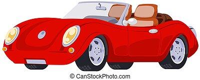 Red sport car. Vector. Stock illustration.