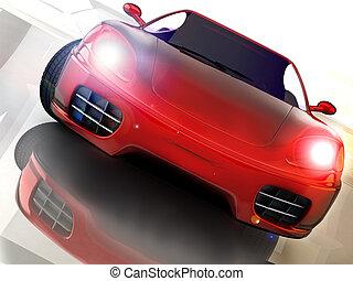 fast car - red sport nad fast car over mirror; three ...