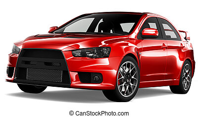 Red sport sedan car on a white background