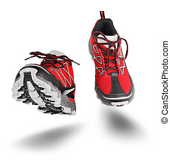 Red sport shoes running isolated on white