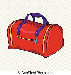 Red sports bag icon, cartoon style