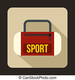Red sports bag icon, flat style
