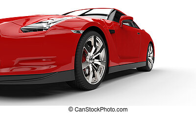 Red Sports Car Extreme Closeup