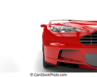 Red sports car - headlight closeup