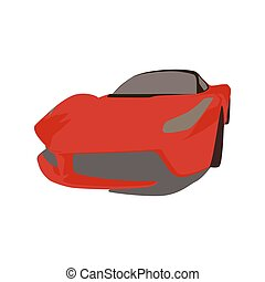 Red sports car, isolated vector illustration