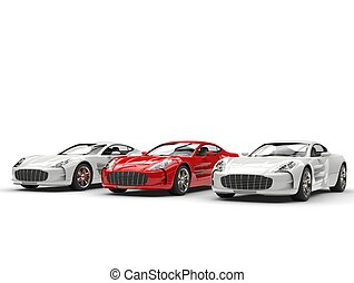 Red sports car stands out