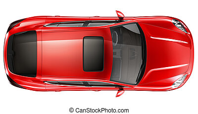 Red sports car - top view - Black coupe on a white...
