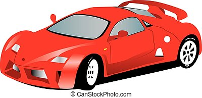 Red sports car - Illustration of a toy red sports car....