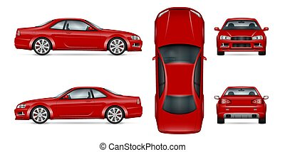 Red sports car vector illustration