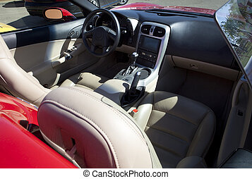 Red sports convertible car interior