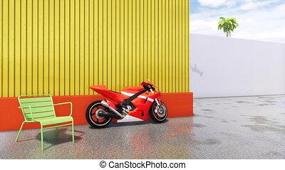 Red sports motorbike in modern cityscape 4K - No people...