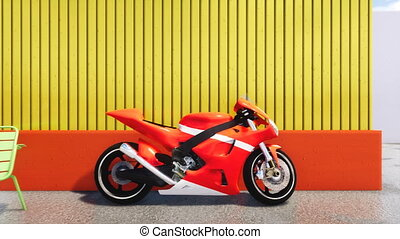 Red sports motorbike parked near yellow wall 4K - Close up...
