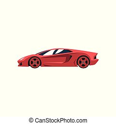 Red sports racing car, supercar, side view vector...