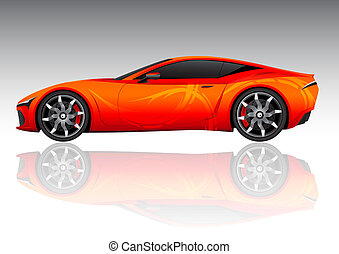 Red Sports Vehicle - Red sports vehicle isolated on white...