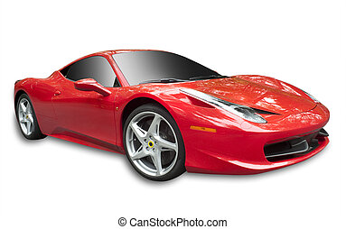 Red sportscar, isolated - Sportscar in red made in Italy, ...