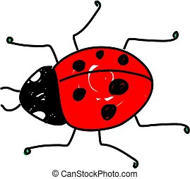 ladybug - red spotted ladybug beetle isolated on white drawn...