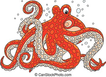 Red spotted octopus - Vector illustration of a big marine...