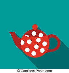 Red spotty teapot icon, flat style