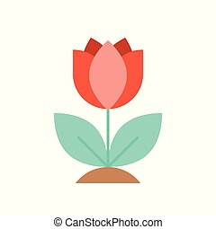 Red spring flower isolated on white background vector illustration