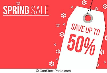 Red Spring sale banner design