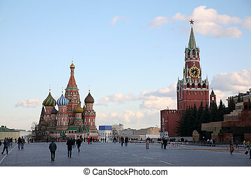 Red Square and St. Basil\'s cathedral in Moscow
