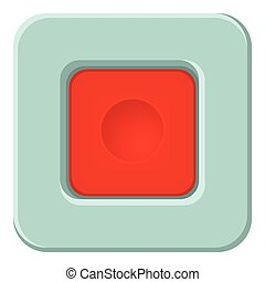 Red square button icon, cartoon style
