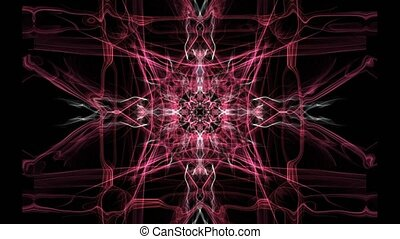 Red square composed fractal patterns on black background,...