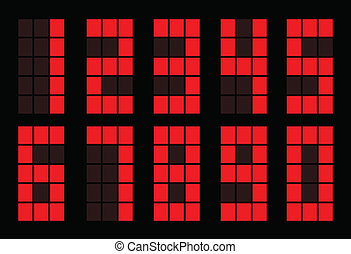 Red square digital number