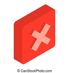 Red square element icon, isometric 3d style